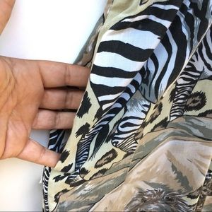 Vintage Pants - Vintage Lion Tiger Zebra Safari Print Jumpsuit